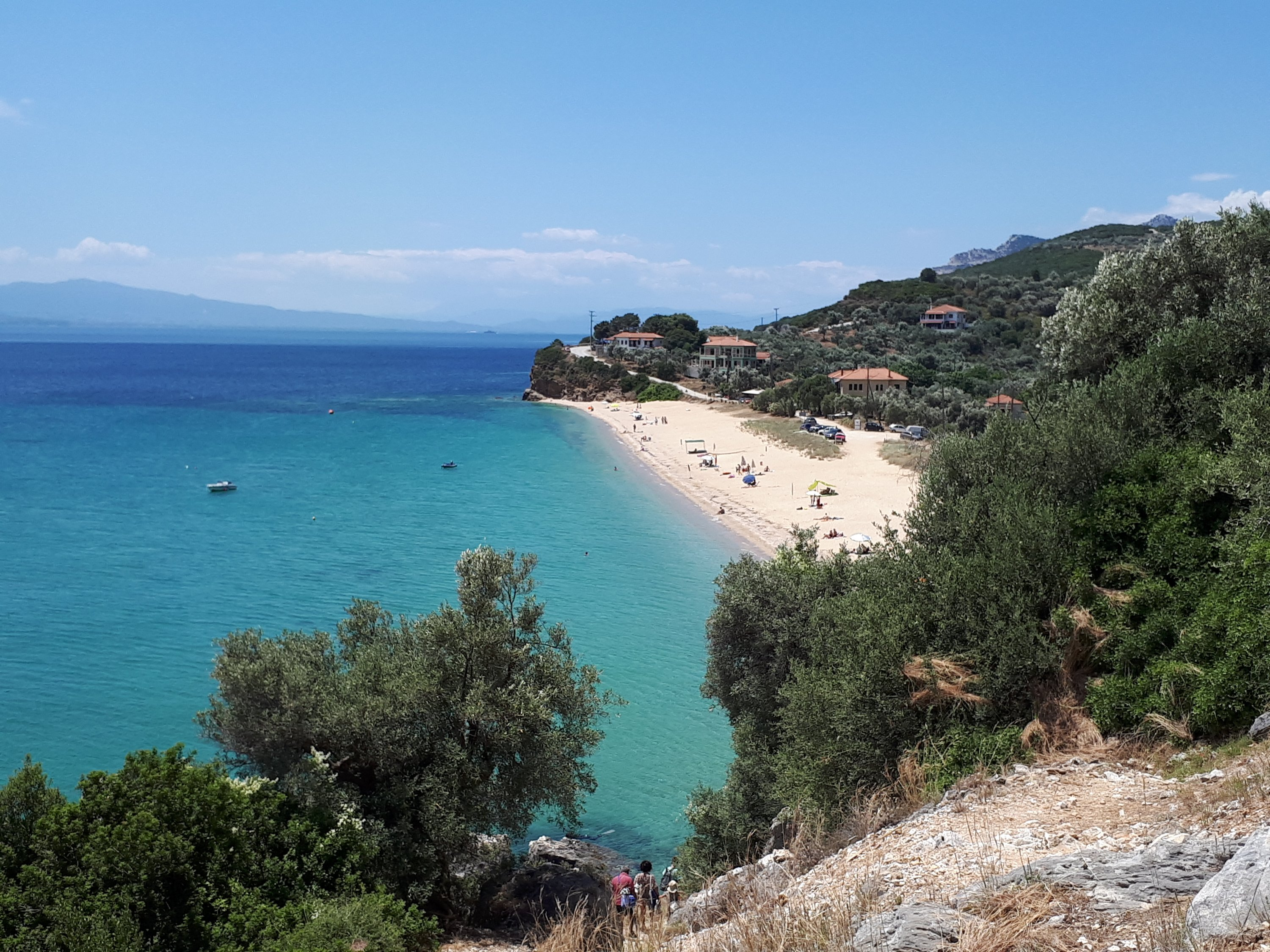 Panoramic view of Mikrò Beach, near the village of Plataniàs in Southern Pelion Central Greece