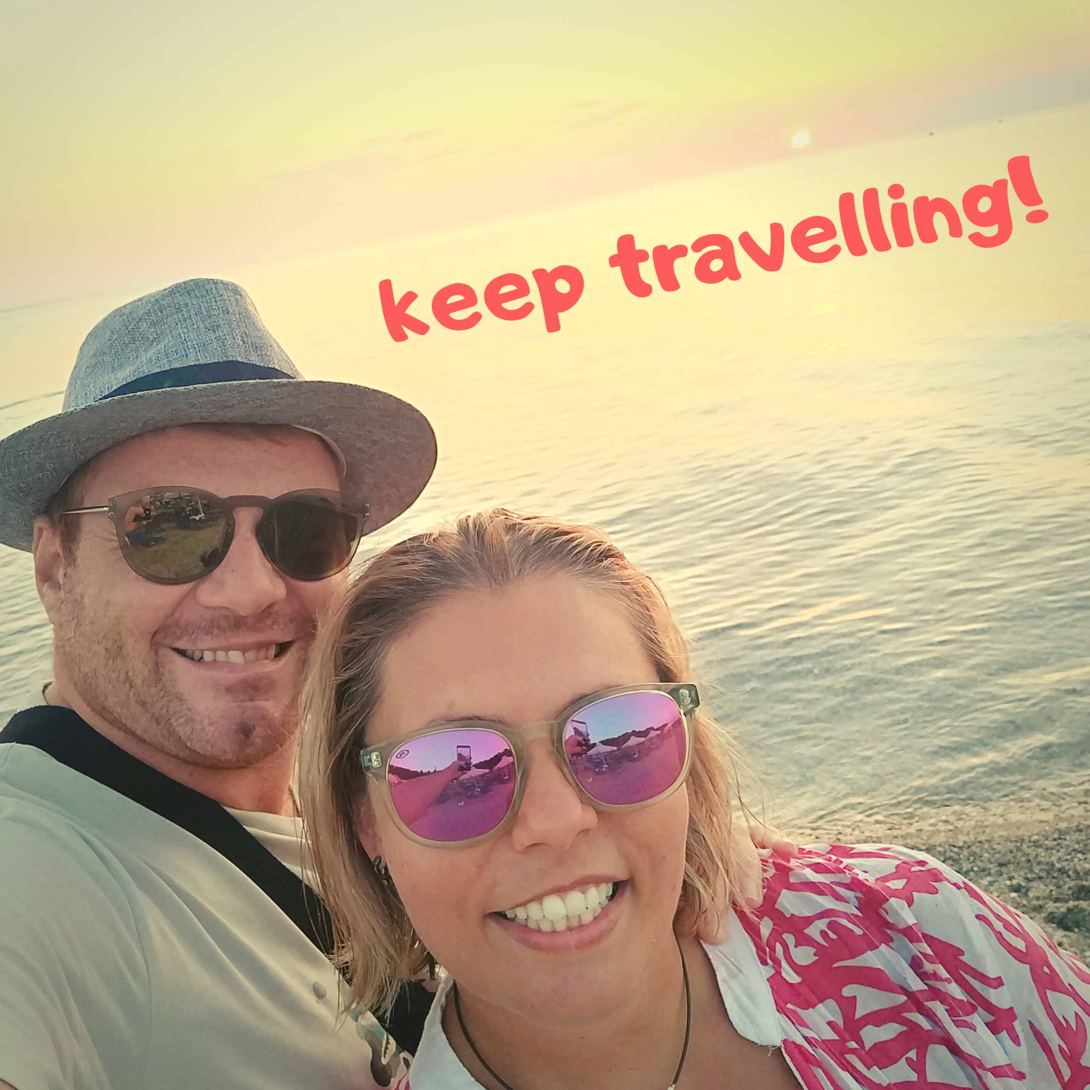"""A picture of travel bloggers Crazy Family Travellers saying """"keep travelling"""""""