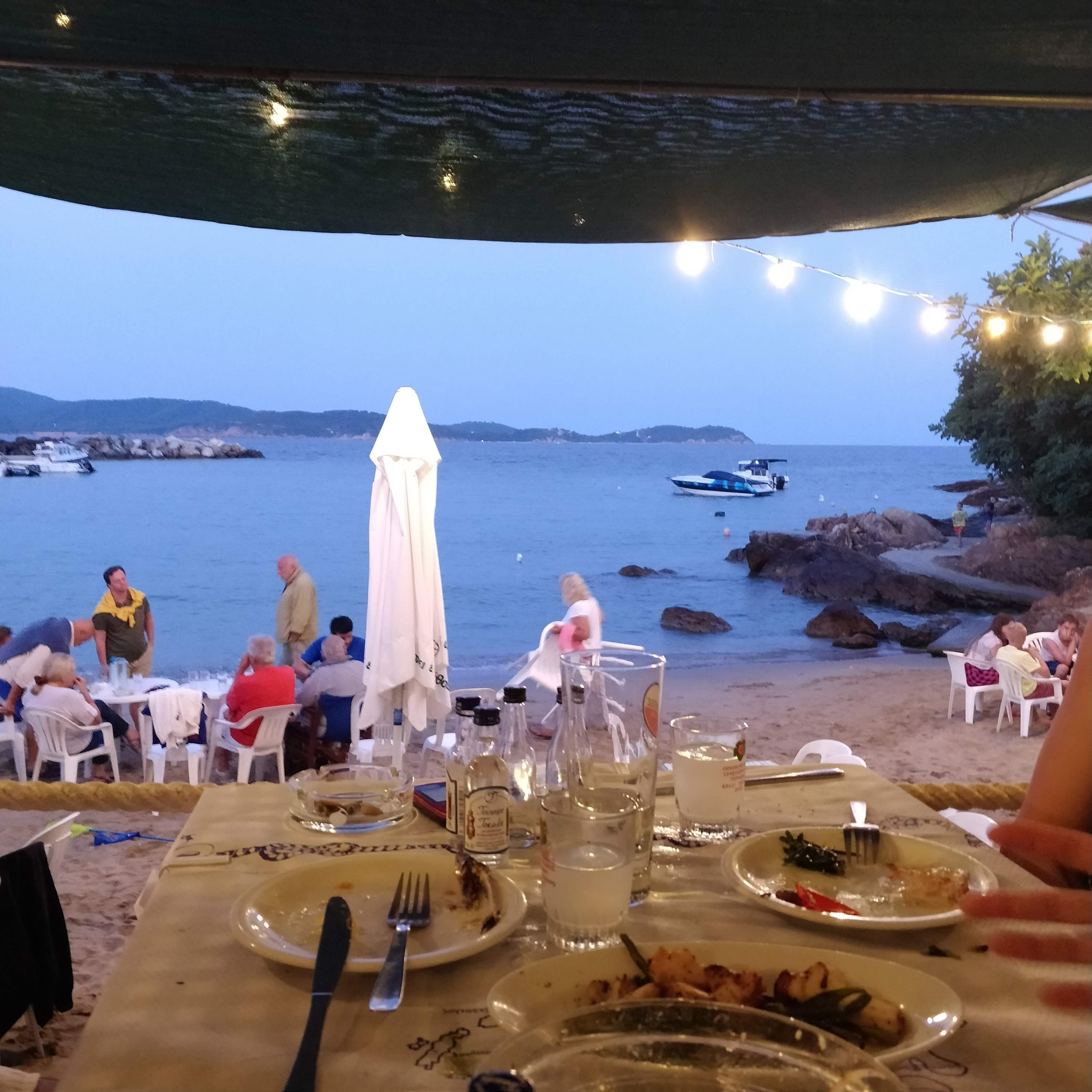 The view from a traditional Greek tavern in the fishing village of Katigiorgis in Southern Pelion Central Greece.